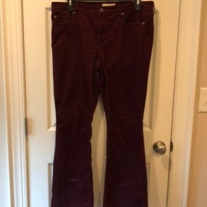 2 PAIR OF GAP BURGUNDY & BLACK CORDUROY PANTS